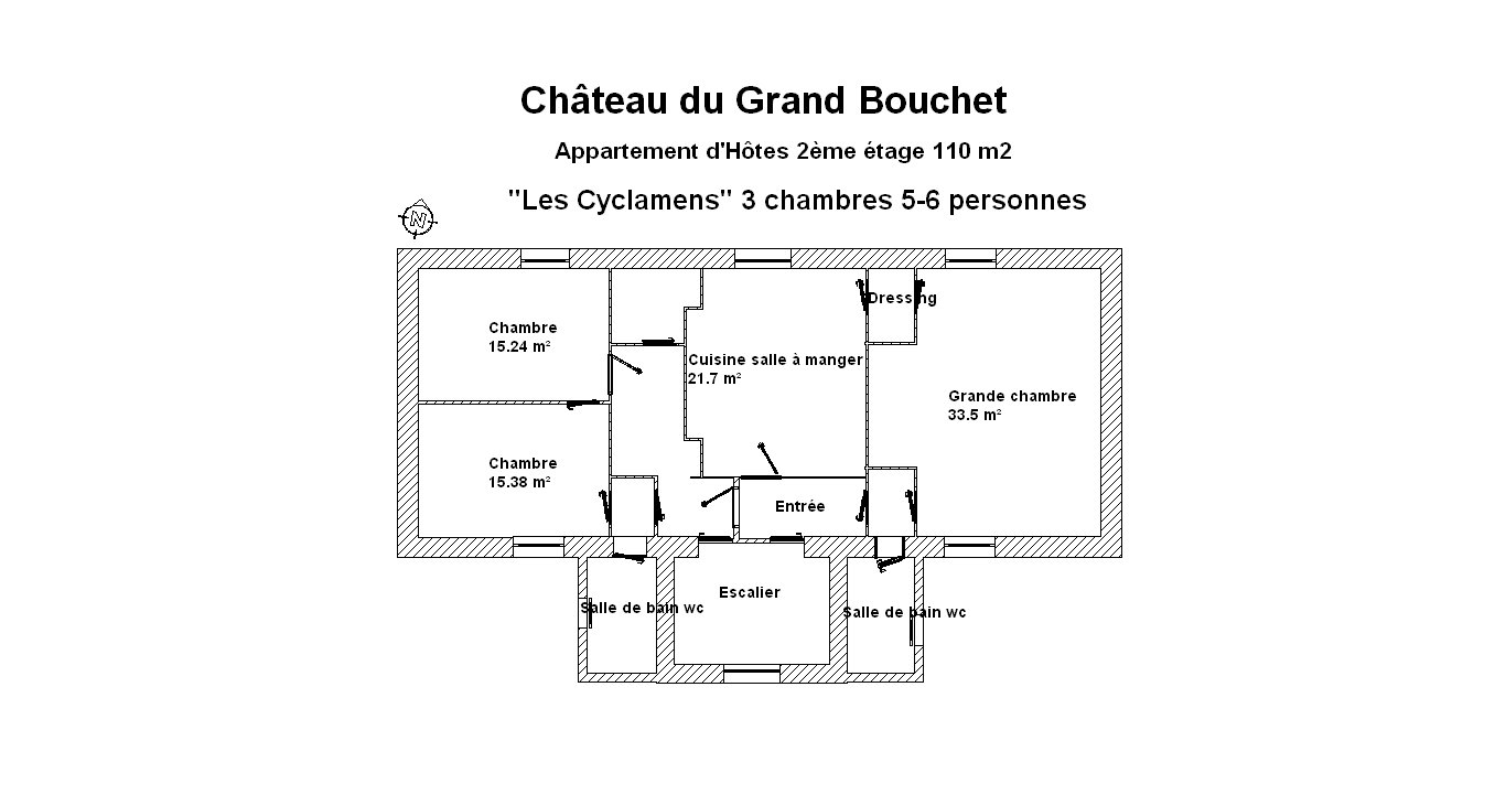 Plan apartment Les Cyclamens for 6 persons